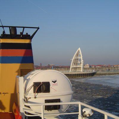 Schiffabfahrt im Winter